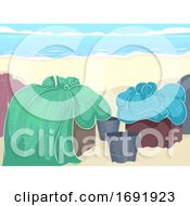 Fish Nets Container Sea Side Illustration