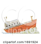 Abandoned Cargo Ship Illustration