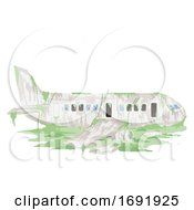 Abandoned Airplane Illustration