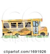 Poster, Art Print Of Abandoned School Bus Illustration