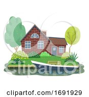 Canal Cottage Netherlands Illustration