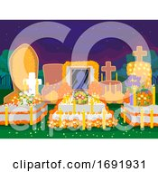 Day Of The Dead Cemetery Night Scene Illustration