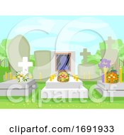 Cemetery Flowers Candles Illustration