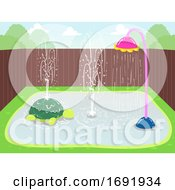 Splash Pads Backyard Illustration