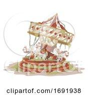 Abandoned Carousel Illustration