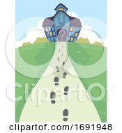 Mystery Mansion Foot Prints Illustration