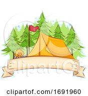 Camp Tent Ribbon Illustration