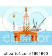 Oil Gas Platform Drilling Illustration