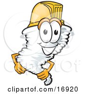 Clipart Picture Of A Tornado Mascot Cartoon Character Wearing A Yellow Hardhat Helmet