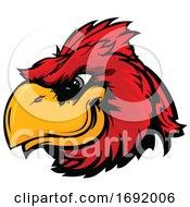 Red Cardinal Bird Mascot Face by Chromaco