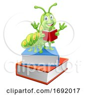 Poster, Art Print Of Bookworm Worm Caterpillar On Books Reading