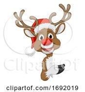 Christmas Reindeer In Santa Hat Cartoon Character