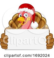 Poster, Art Print Of Turkey In Santa Hat Christmas Cartoon Holding Sign