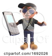 3d Black Hiphop Rapper Character In Baseball Cap Holding An Old Cellphone 3d Illustration