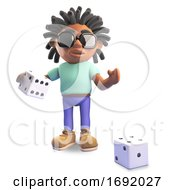 3d Black Male With Dreadlocks Playing With Dice 3d Illustration