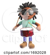 3d Black Man With Dreadlocks Playing Drums 3d Illustration
