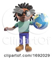 Poster, Art Print Of 3d Black African American Man With Dreadlocks Holding A Globe Of The Earth 3d Illustration