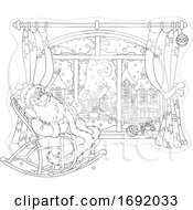 Santa Claus Sitting In A Rocking Chair By A Window