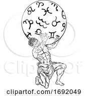 Atlas Titan Holding Heavens Mythology Illustration