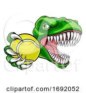 Poster, Art Print Of Dinosaur Tennis Player Animal Sports Mascot