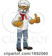 Wildcat Chef Mascot Cartoon Character by AtStockIllustration