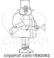 Poster, Art Print Of Cartoon Lineart Pilgrim Holding A Blunderbuss Rifle