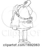 Cartoon Lineart Santa Drinking Wine From The Bottle