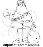 Cartoon Lineart Santa Hitchhiking On Christmas