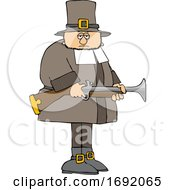Poster, Art Print Of Cartoon Pilgrim Holding A Blunderbuss Rifle