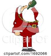 Cartoon Santa Claus Drinking Wine From The Bottle