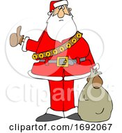 Cartoon Santa Claus Hitchhiking On Christmas