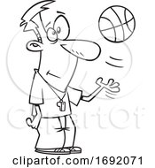 Poster, Art Print Of Cartoon Black And White Basketball Referee