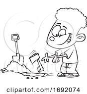 Cartoon Lineart Black Boy Burying The Hatchet