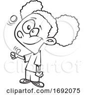 Cartoon Lineart Black Girl Flipping A Coin