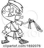 Cartoon Lineart Of David Slinging A Stone