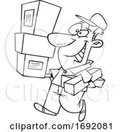 Cartoon Lineart Delivery Man Carrying Packages