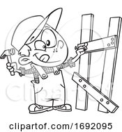 Poster, Art Print Of Cartoon Black And White Boy Building A Fence