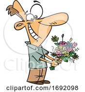 Cartoon Sweet Man Holding Flowers