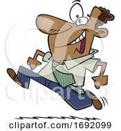 Cartoon Eager Black Businessman Running