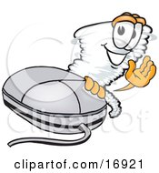 Clipart Picture Of A Tornado Mascot Cartoon Character Waving And Standing By A Computer Mouse by Toons4Biz