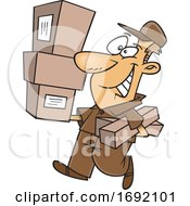 Cartoon Delivery Man Carrying Packages