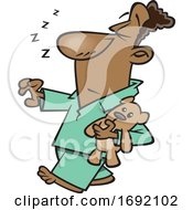 Cartoon Black Man Sleep Walking