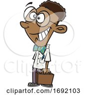 Cartoon Black Teen Boy Executive