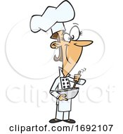 Cartoon Female Chef Mixing Ingredients
