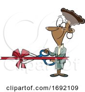 Cartoon Woman Performing A Ribbon Cutting Ceremony by toonaday
