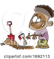 Cartoon Black Boy Burying The Hatchet