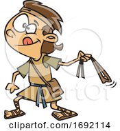 Cartoon Of David Slinging A Stone by toonaday