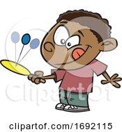 Poster, Art Print Of Cartoon Black Boy Playing Paddleball