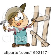 Cartoon Boy Building A Fence