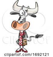 Cartoon Female Cow Shopping